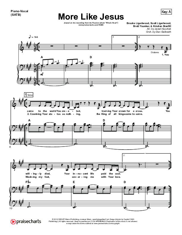 More Like Jesus Piano/Vocal (SATB) (Passion / Kristian Stanfill)