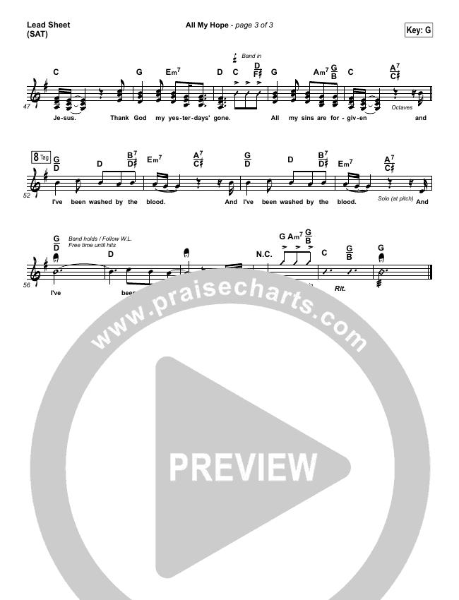 All My Hope Lead Sheet (SAT) (Passion / Crowder / Tauren Wells)