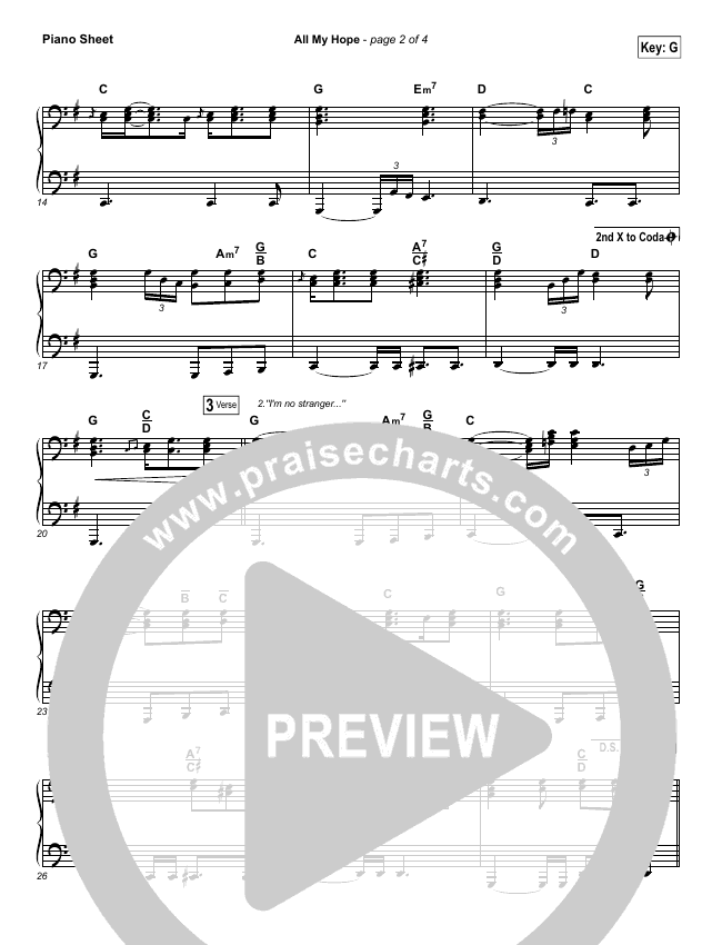 All My Hope Piano Sheet (Passion / Crowder / Tauren Wells)