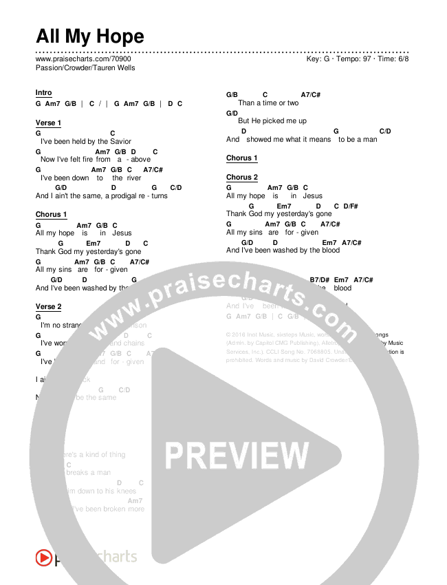 All My Hope Chords & Lyrics (Passion / Crowder / Tauren Wells)