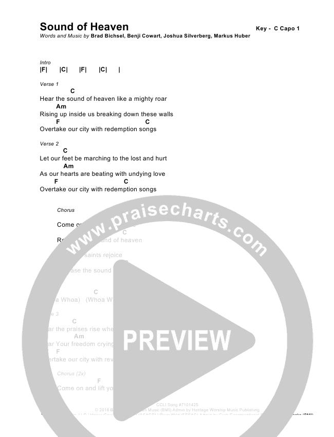 Sound Of Heaven Chords Brad Rebekah Praisecharts