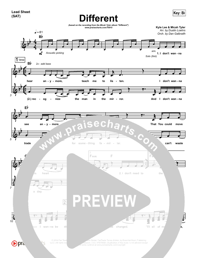 Different Lead Sheet (SAT) (Micah Tyler)