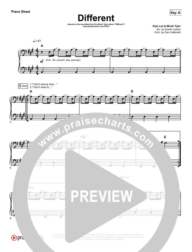 Different Piano Sheet (Micah Tyler)