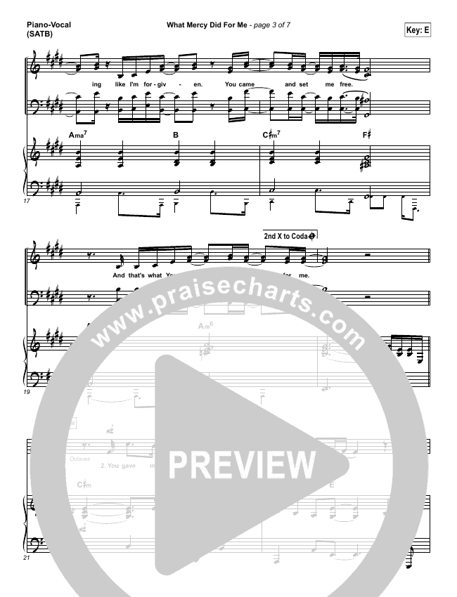 What Mercy Did For Me Piano/Vocal (SATB) (People & Songs / Crystal Yates / Micah Tyler / Joshua Sherman)