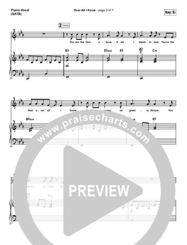 Over All I Know Piano/Vocal (SATB) (Vertical Worship)