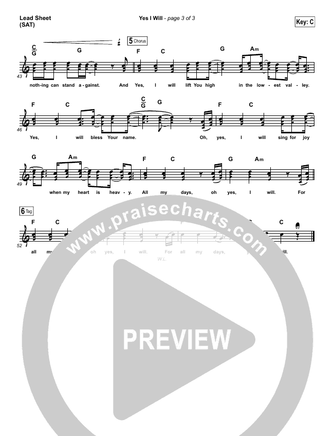 Yes I Will Piano/Vocal Pack (Vertical Worship)