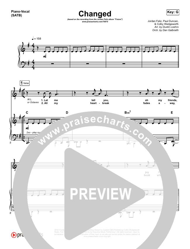 Changed Piano/Vocal (SATB) (Jordan Feliz)