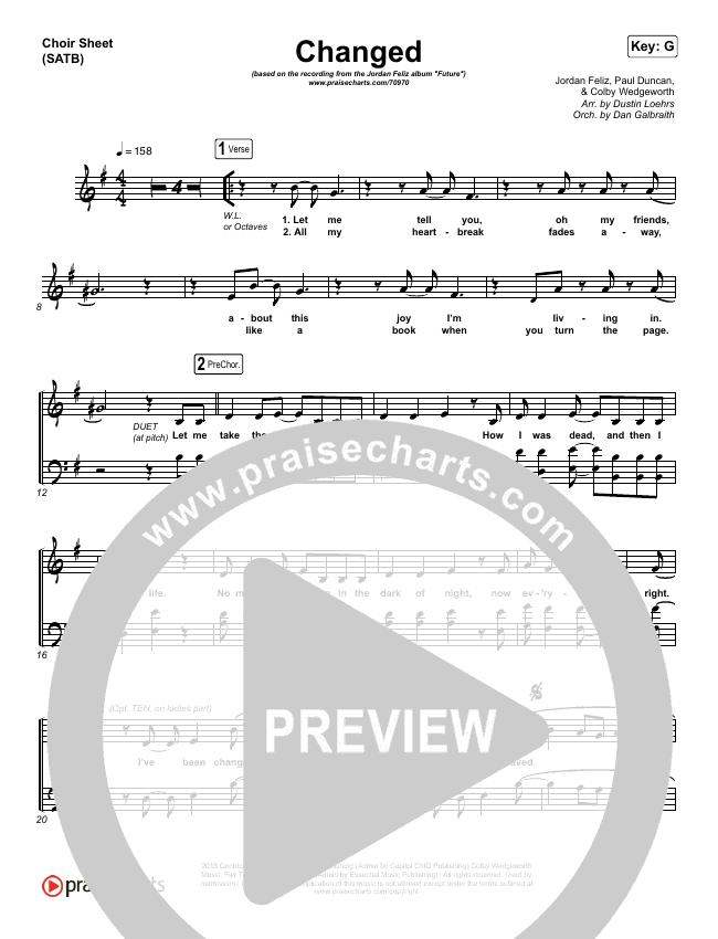 Changed Choir Sheet (SATB) (Jordan Feliz)