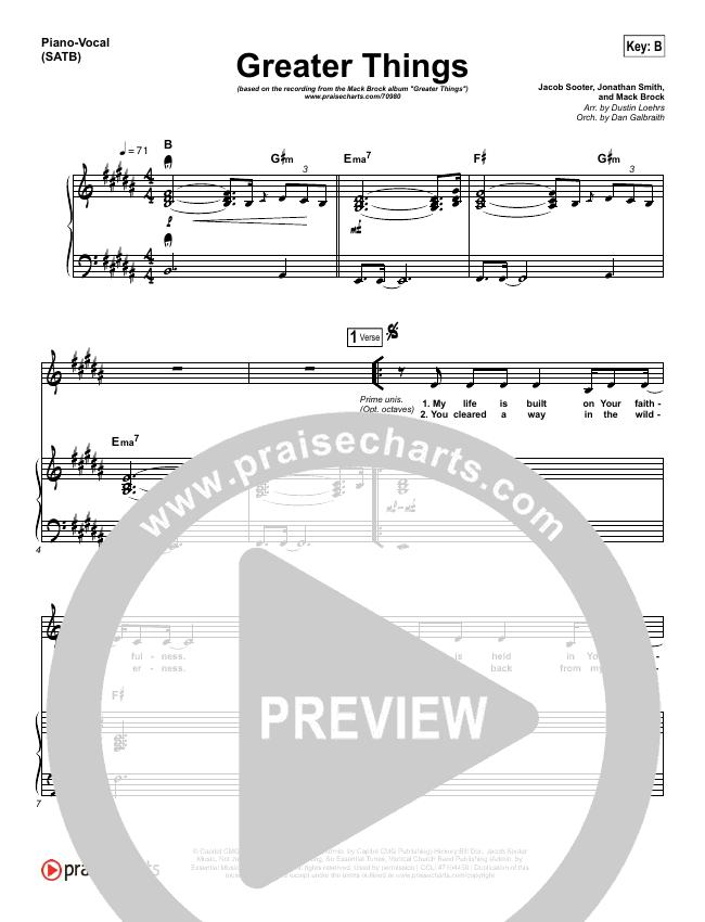 Greater Things Piano/Vocal (SATB) (Mack Brock)