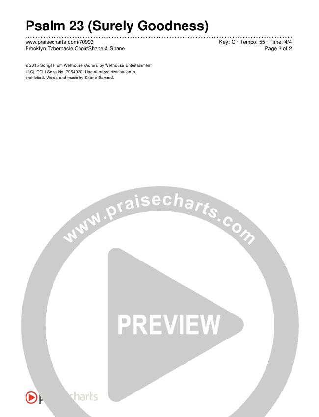 Psalm 23 (Surely Goodness) Chords & Lyrics (Brooklyn Tabernacle Choir / Shane & Shane)