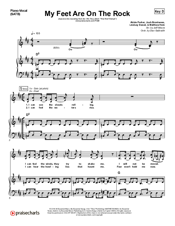 My Feet Are On The Rock Piano/Vocal (SATB) (I Am They)