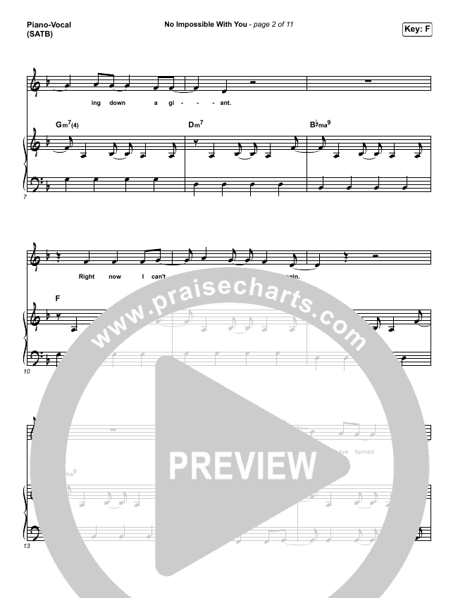 No Impossible With You Piano/Vocal (SATB) (I Am They)