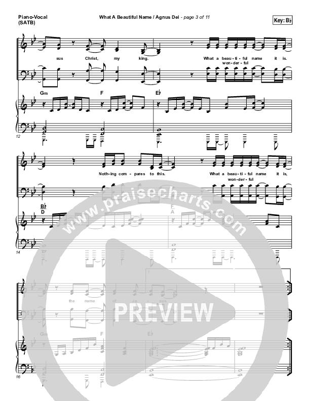 What A Beautiful Name / Agnus Dei (Medley) Piano/Vocal (SATB) (Travis Cottrell)
