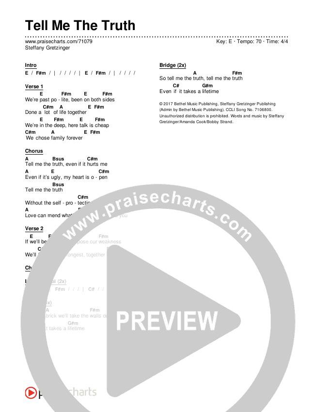 Tell Me The Truth Chord Chart (Steffany Gretzinger)