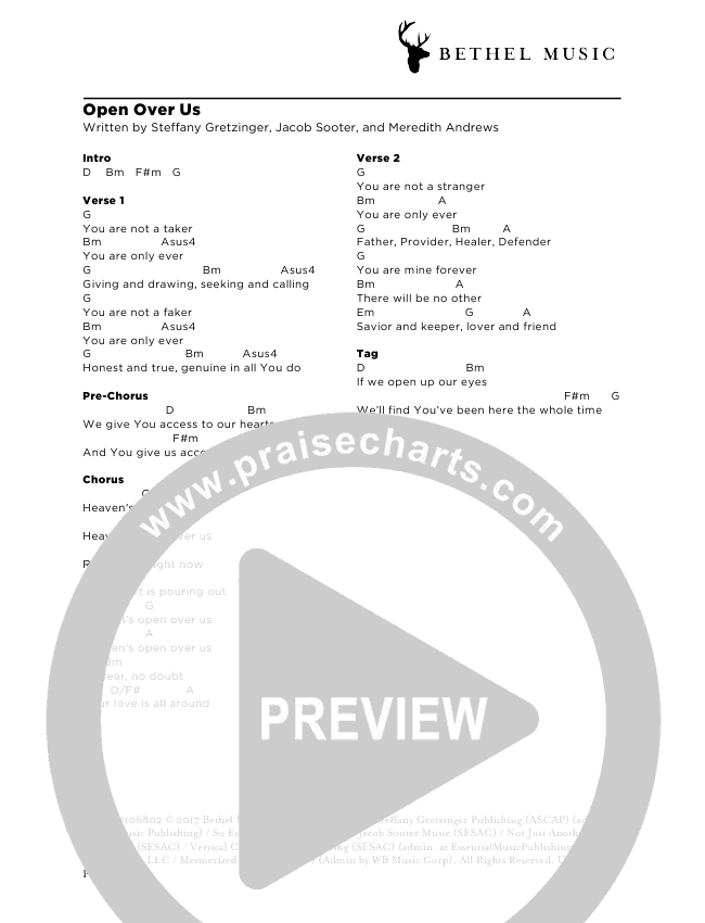Open Over Us Chord Chart (Steffany Gretzinger)