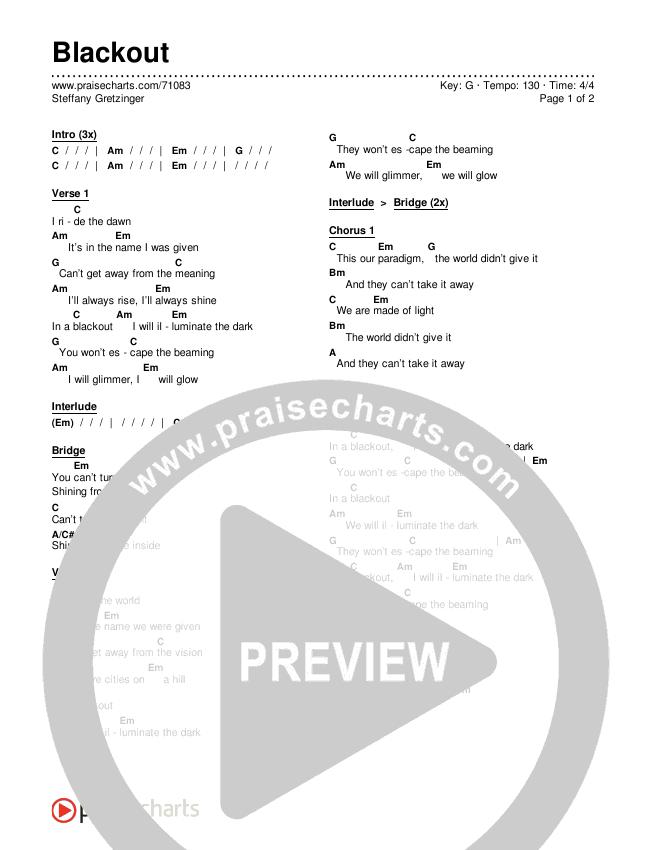 Blackout Chords Steffany Gretzinger Praisecharts