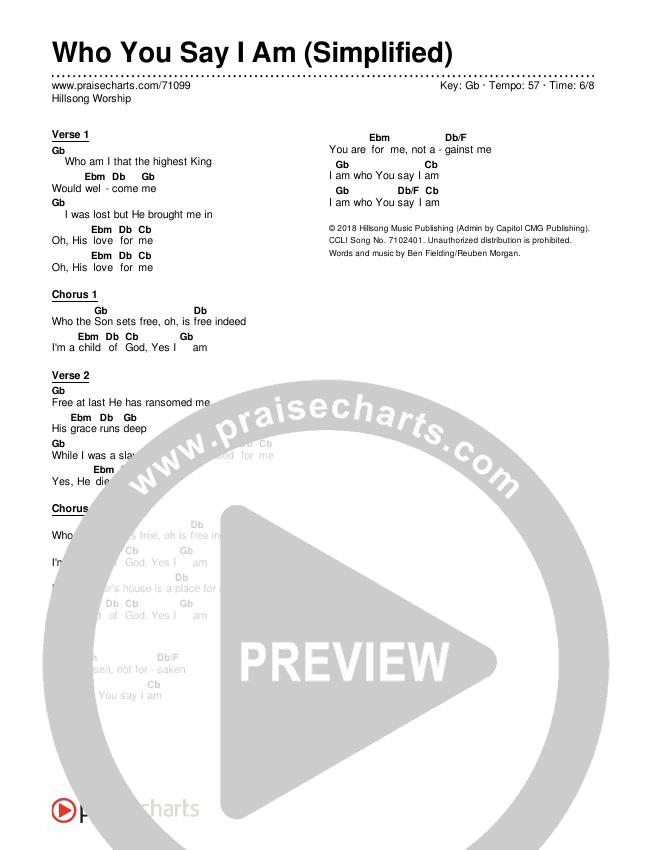 Who You Say I Am (Simplified) Chord Chart (Hillsong Worship)