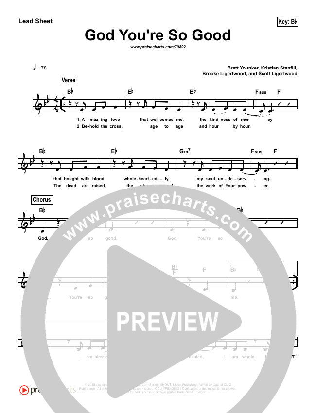 God You're So Good (Simplified) Lead Sheet (Passion)