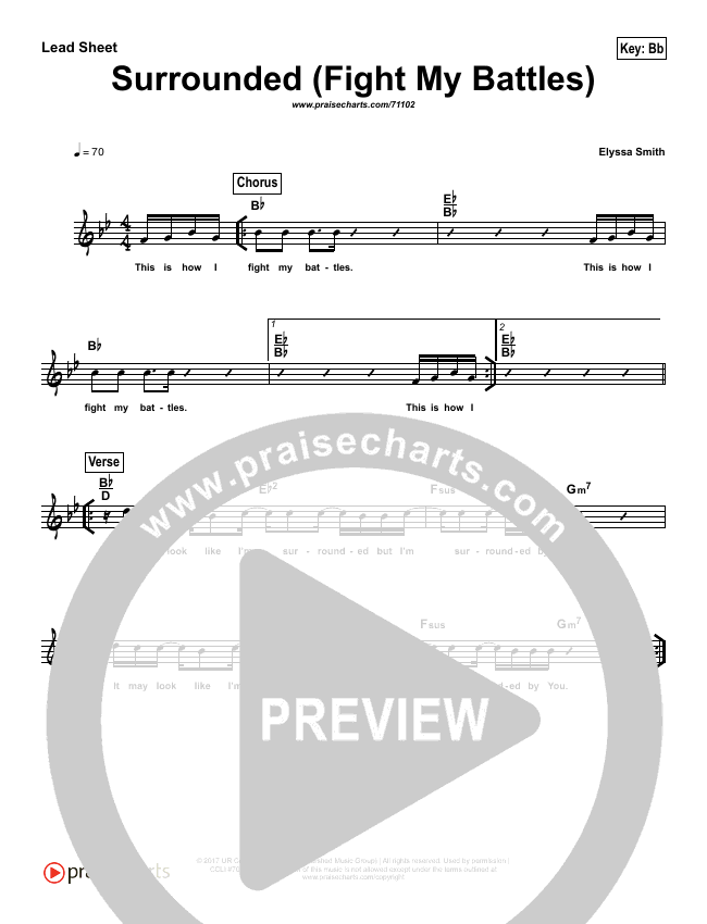 Surrounded (Fight My Battles) (Simplified) Lead Sheet (Melody) (Michael W. Smith)