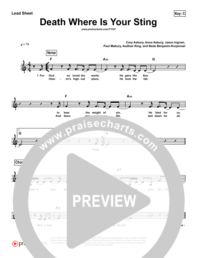 Death Where Is Your Sting (Simplified) Lead Sheet (Cory Asbury)
