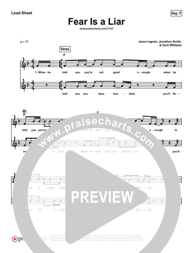 Fear Is A Liar (Simplified) Lead Sheet (Zach Williams)
