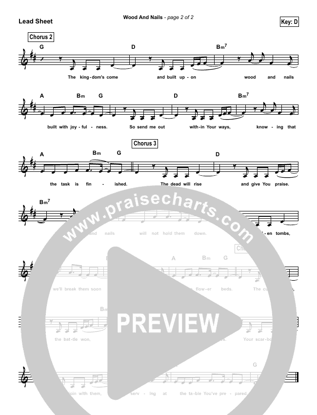 Wood And Nails (Simplified) Lead Sheet (The Porter's Gate)