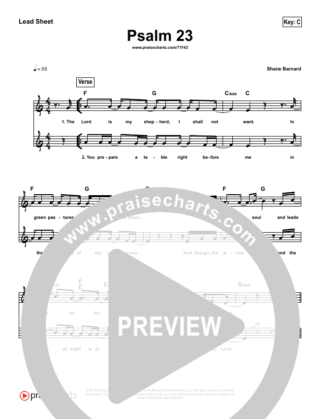 Psalm 23 (Surely Goodness) (Simplified) Lead Sheet (Shane & Shane)