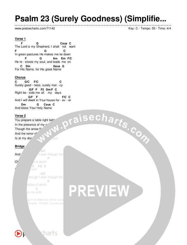 Psalm 23 (Surely Goodness) (Simplified) Chords & Lyrics (Shane & Shane)