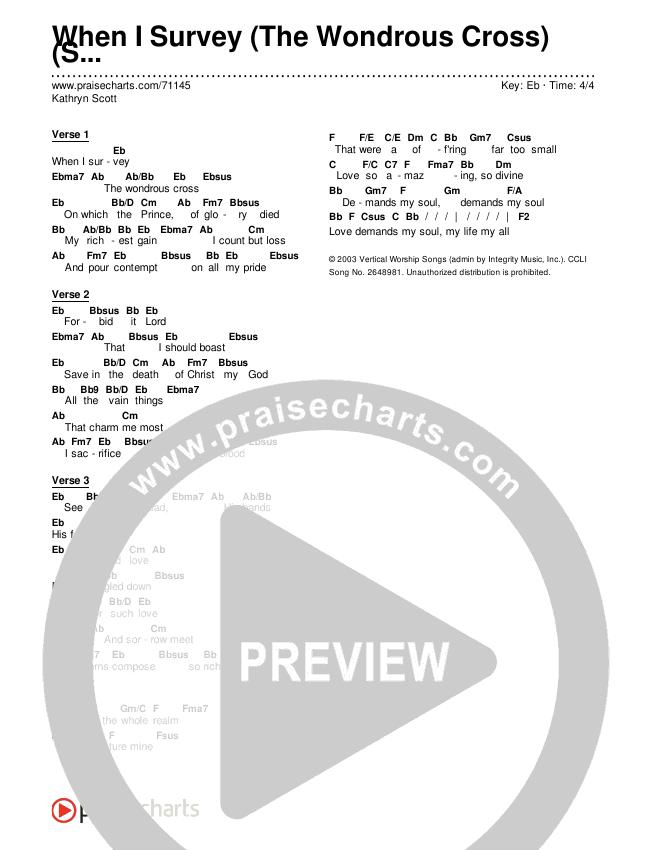 When I Survey (The Wondrous Cross) (Simplified) Chords & Lyrics (Kathryn Scott)