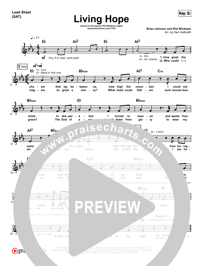 Living Hope Lead Sheet (SAT) (Phil Wickham)