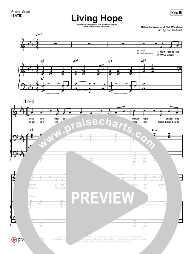 Living Hope Piano/Vocal (SATB) (Phil Wickham)