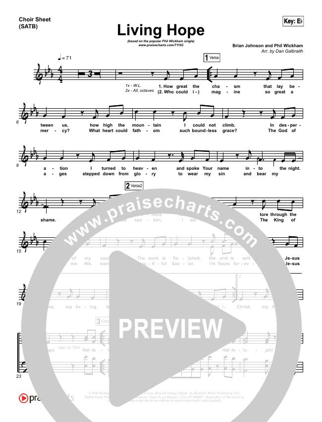 Living Hope Choir Sheet (SATB) (Phil Wickham)