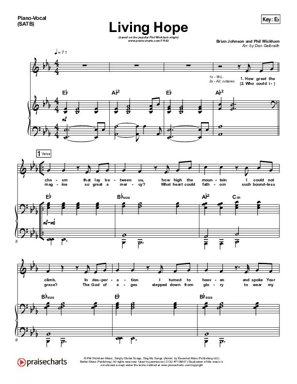 Living Hope Piano/Vocal (SATB) (Phil Wickham)