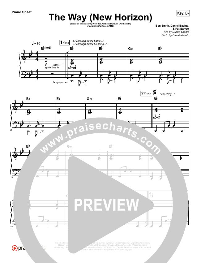 The Way (New Horizon) Piano Sheet (Pat Barrett)