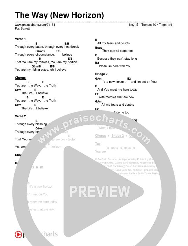 The Way (New Horizon) Chords & Lyrics (Pat Barrett)