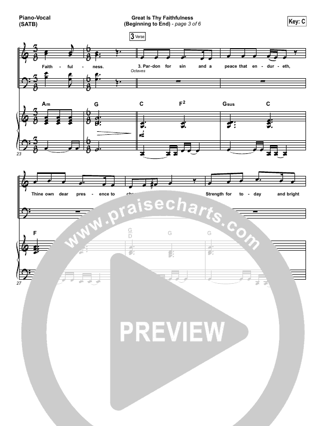 Great Is Thy Faithfulness (Beginning To End) Piano/Vocal (SATB) (One Sonic Society / Michael Weaver)