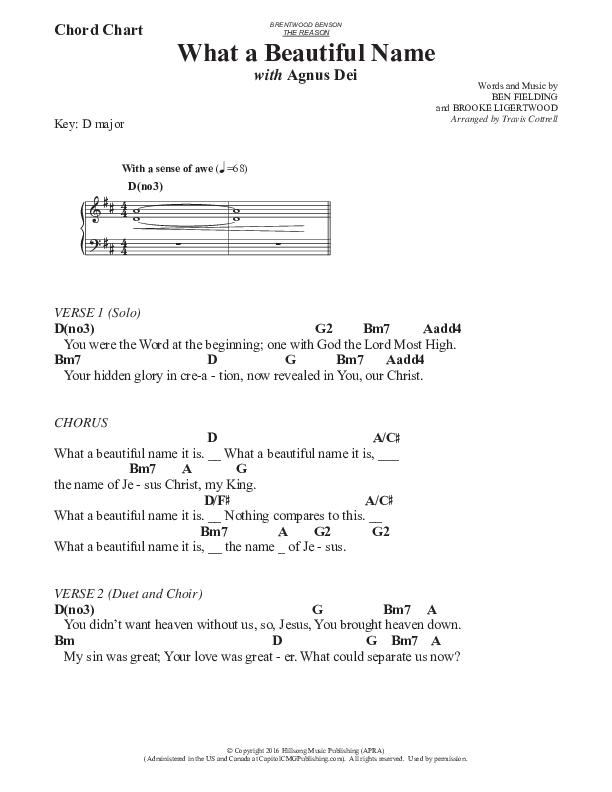 What A Beautiful Name / Agnus Dei (Medley) (Choral) Chord Chart (Travis Cottrell / Brentwood Benson Choral / Arr. Travis Cottrell, Mason Brown)