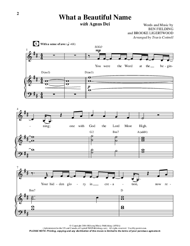 What A Beautiful Name / Agnus Dei (Medley) (Choral) Orchestration (Travis Cottrell / Brentwood Benson Choral / Arr. Travis Cottrell, Mason Brown)