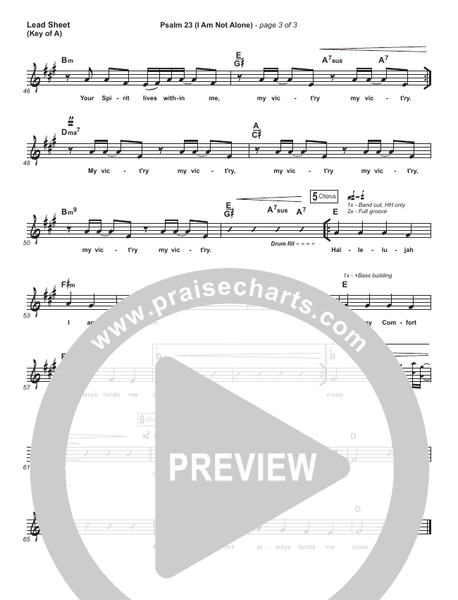 Psalm 23 (I Am Not Alone) Lead Sheet (Melody) (People & Songs / Joshua Sherman)