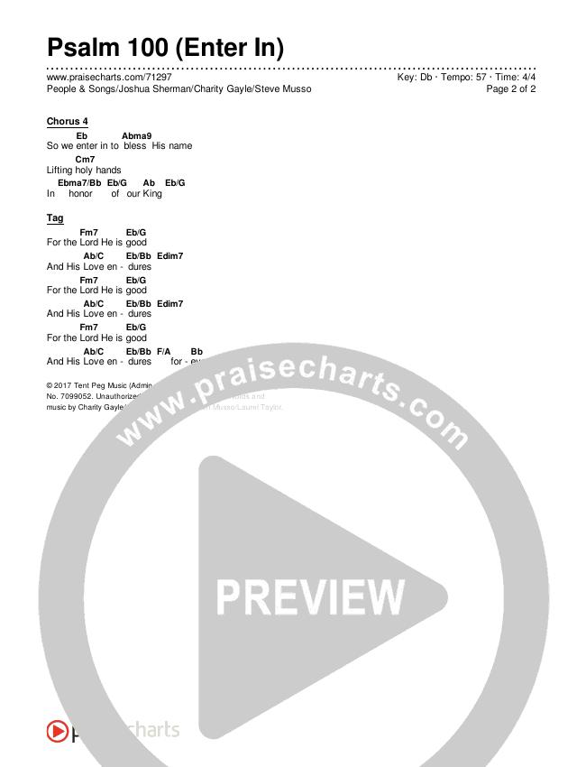 Psalm 100 (Enter In) Chords & Lyrics (People & Songs / Joshua Sherman / Charity Gayle / Steve Musso)