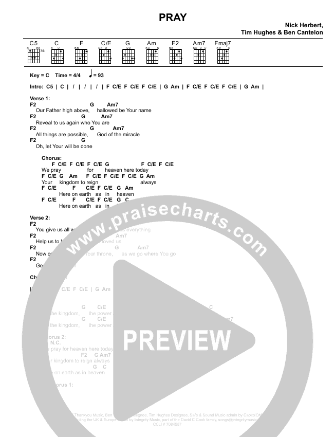 Pray Chord Chart (Worship Central / Luke Hellebronth)