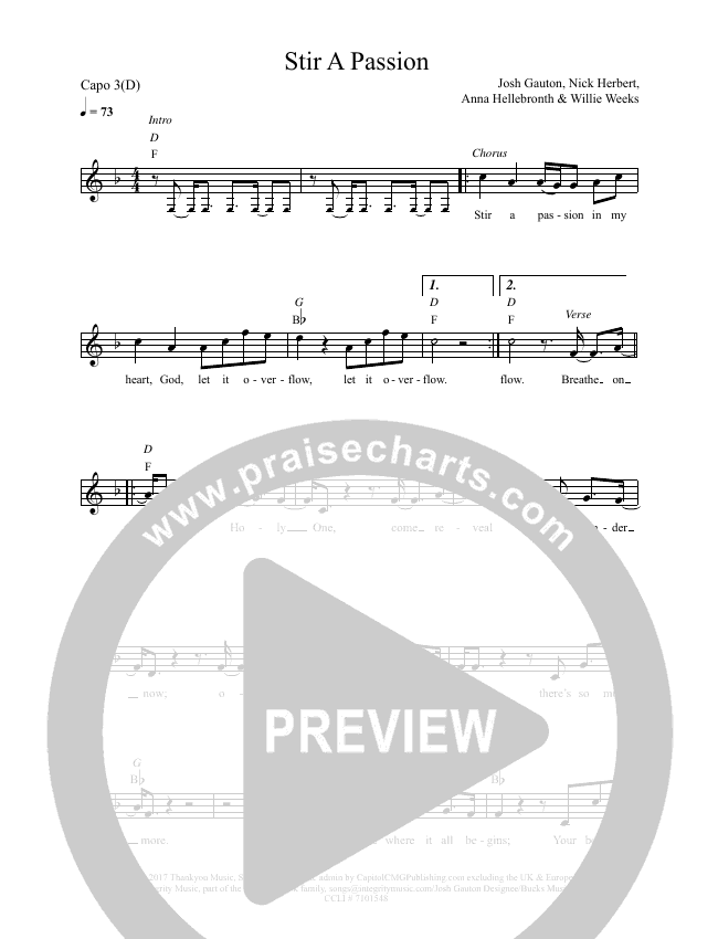 Stir A Passion Lead & Piano (Worship Central / Josh Gauton)