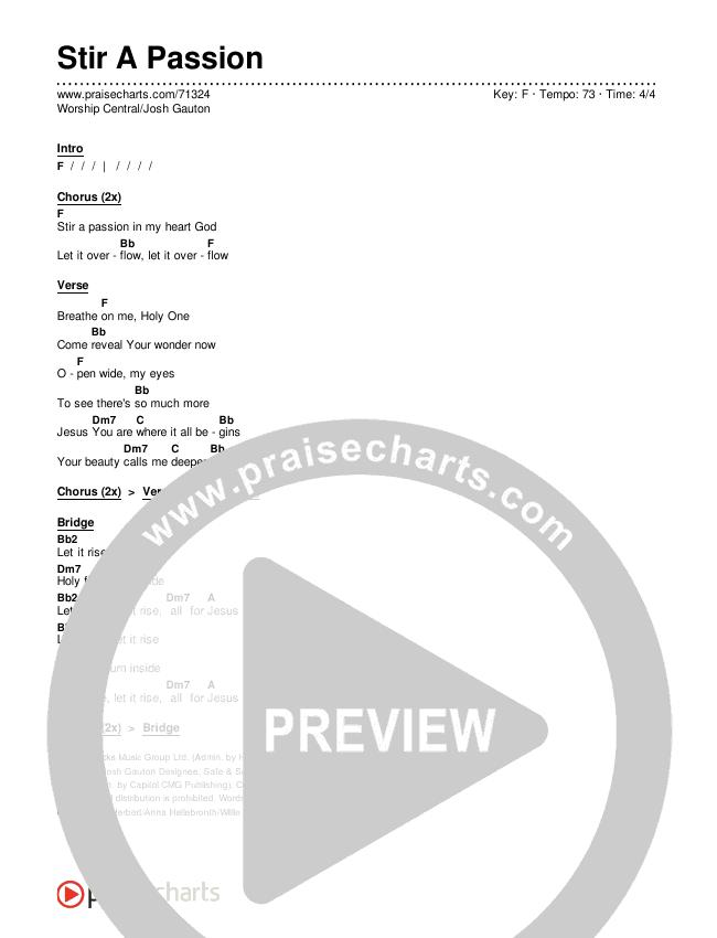 Stir A Passion Chords & Lyrics (Worship Central / Josh Gauton)