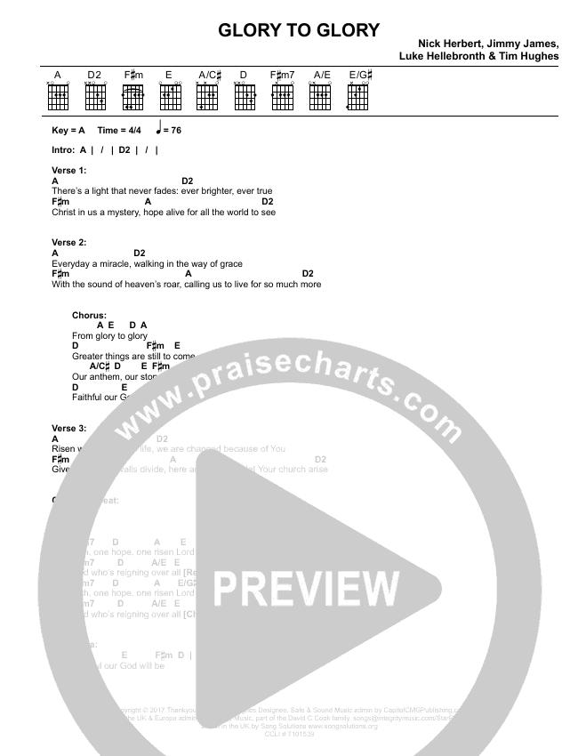 Glory To Glory Chord Chart (Worship Central / Tim Hughes)