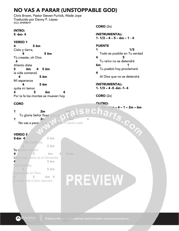 No Vas A Parar Chord Chart (Elevation Worship)