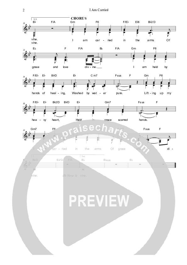 I Am Carried Lead Sheet (SAT) (Dennis Prince / Nolene Prince)