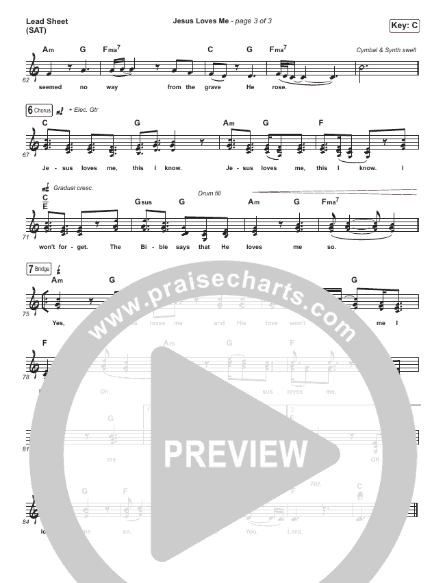 Jesus Loves Me Lead Sheet (SAT) (Hillsong Young & Free)