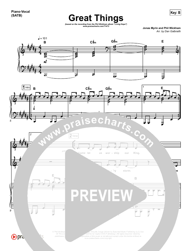 Great Things Piano/Vocal (SATB) (Phil Wickham)