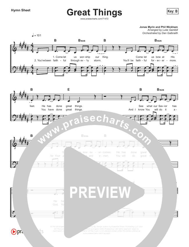Great Things Hymn Sheet (Phil Wickham)