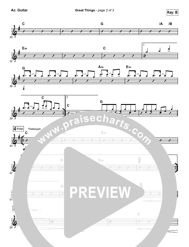 Great Things Rhythm Chart (Phil Wickham)